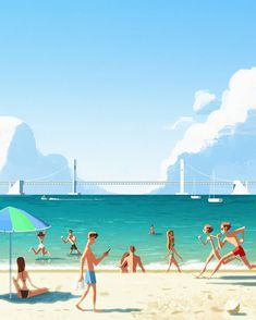 Summer by Beomjin Kim Korean Illustration, Beach Illustration, Landscape Illustration, Digital Illustration, Beach Pollution, Fanart, Marvel, Illustrations And Posters, Beach Art