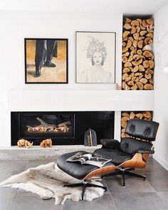 Eames lounger + rug.