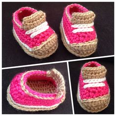 "Crochet baby ""Jessie"" sneakers for a client. Custom order yours for boys or girls now!"