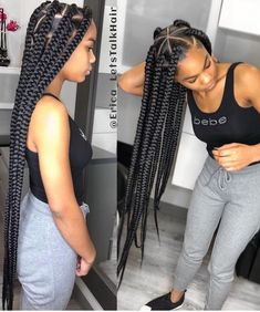 How to style the box braids? Tucked in a low or high ponytail, in a tight or blurry bun, or in a semi-tail, the box braids can be styled in many different ways. Big Box Braids Hairstyles, Short Box Braids, Braided Hairstyles For Black Women, Blonde Box Braids, African Braids Hairstyles, Black Girl Braids, Braids For Black Hair, Girls Braids, Weave Hairstyles
