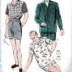 1950s Butterick 4968 sewing pattern // Men's Sport Shirt and Shorts at Winkorama, $10.00