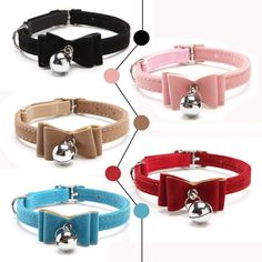 Wallmart.win Safety Elastic Bowtie with bell small dog cat collar safe soft velvet 6 colors pet Products dog collar pet supplier