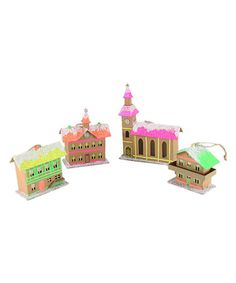 Loving this Neon Bavarian House Ornament - Set of Four on #zulily! #zulilyfinds