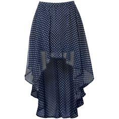 Glamorous Polka Dot Dip Hem Skirt ($9.99) ❤ liked on Polyvore featuring skirts, bottoms, saias, pleated skirt, mullet skirt, pleated high low skirt, chiffon skirt and blue chiffon skirt