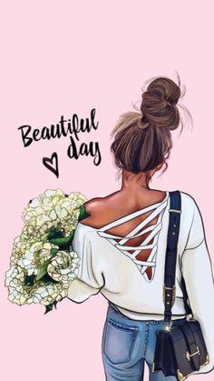 Illustration Blume, Illustration Mode, Illustrations, Girl Cartoon, Cartoon Art, Mode Poster, Girly M, Cute Girl Drawing, Girly Drawings