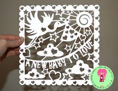 New Baby To Love Papercut Template, SVG / DXF Cutting File For Cricut / Silhouette & PDF Printable For Hand Cutting Download by DigitalGems on Etsy
