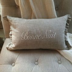 Add a touch of elegance and style to your home with a 100% European Linen Boudoir pillow. Embroidered with Bonne Nuit (Good night) and filled with hypoallergenic synthetic down fill.