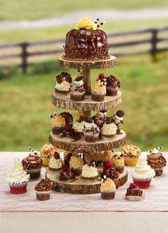 4-Tier Rustic Wood Slice Cupcake Stand