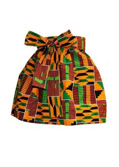 Abina African Print Full Skirt for Little Girls (Yellow Green Kente) Style # This full skirt with a sash will look super cute on your little girl! Baby African Clothes, African Dresses For Kids, African Babies, African Wear, African Attire, African Outfits, African Fashion Designers, African Inspired Fashion, Latest African Fashion Dresses