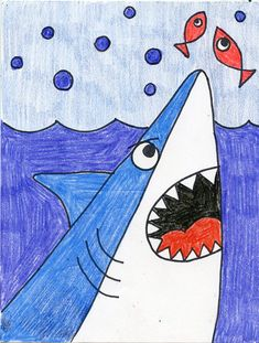 draw a cartoon shark head art projects for kids - shark drawing cartoon Art Drawings For Kids, Easy Drawings, Art For Kids, Easy Drawing For Kids, Colorful Drawings, Kindergarten Drawing, Kindergarten Art Projects, Art Education Projects, Art Education Lessons