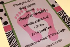 Zebra Print Baby Shower Invitations for Girl by PaperMonkeyCompany, $1.00 Baby Footprints, Purple Baby, Baby G, Return Address Labels, Happy Baby, Candy Wrappers, Baby Crafts, Zebra Print, Having A Baby