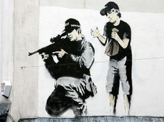 Banksy - Existencilism, Wall And Piece and Banging Your Head Against A Brick Wall (Graffiti)