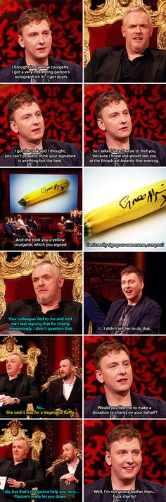 Joe Lycett brought in a yellow courgette signed by Greg Davies | Taskmaster