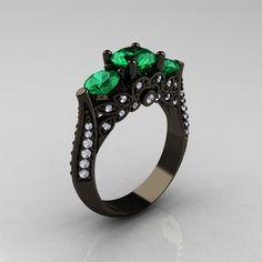 14K Black Gold Three Stone Diamond Emerald Solitaire Ring R200-14KBGDEM. $2,599.00, via Etsy.