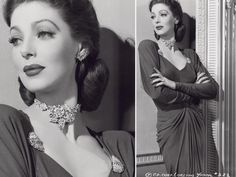 Loretta Young wearing a flower choker and earrings by Mazer and two metal and rhinestones clips, c. 1940.