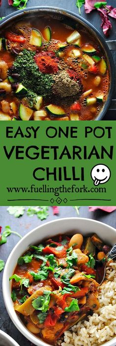 Easy One Pot Vegetarian Chilli | This chilli is cheap, healthy and only requires one pan! Plus, it's PERFECT for meal prep. Stress free cooking? Right this way. Click for the recipe! #chilli #onepotchilli #vegetarianchilli #veganchilli #mealprep | www. fuellingthefork.com