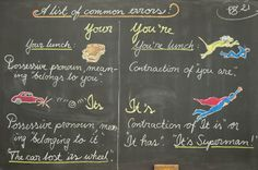 Waldorf ~ 4th grade ~ Language Arts ~ Common Errors ~ chalkboard drawing