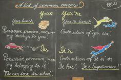 Waldorf ~ 4th grade ~ Language Arts ~ Common Errors ~ chalkboard drawing