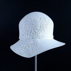 White Wedding Cloche Hat by Katie Burley Millinery,