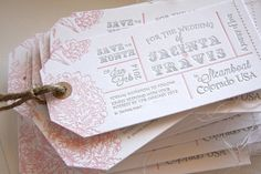 Destination wedding, luggage tag letterpress wedding save the date invitation. Details include twine string, Kraft hole re-enforces and stitching. Featuring pink peonies and luggage tag styled design