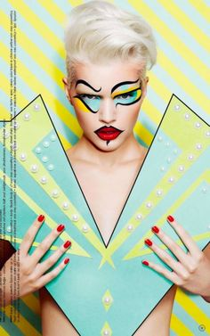 Magazine Photographer: Thomas Knieps Model: Michaela Schinabel Styling and Props: Rolf Buck Makeup: Tanja Kern Pop Art Fashion, Foto Fashion, Paper Fashion, Makeup Trends, Makeup Ideas, Make Up Art, How To Make, Cartoon Makeup, Pop Art Makeup