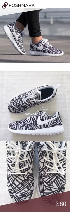 ebe6042d99fdc Shop Women s Nike White Black size Sneakers at a discounted price at  Poshmark. Description  Women s Nike Roshe One Print Sneakers.