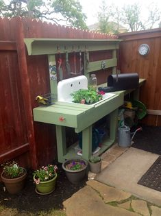 potting bench with sink | My new potting bench using an old sink & pressure treated lumber. Lots ...