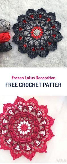 Frozen Lotus Decorative Free Crochet Pattern. Doily.
