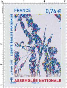Timbre : 2015 ASSEMBLÉE NATIONALE - Liberté Egalité Fraternité | WikiTimbres