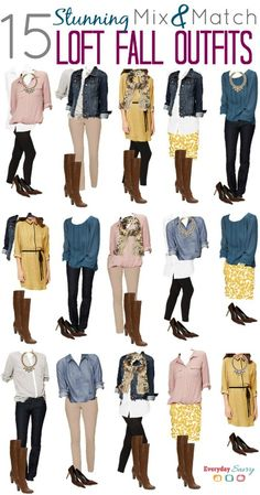 Mix and Match Fall Outfits from the Loft with this year's hot colors mustard, mauve, and cobalt blue.