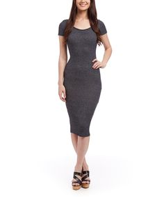 This POPULAR BASICS Charcoal Cap-Sleeve Dress by POPULAR BASICS is perfect! #zulilyfinds