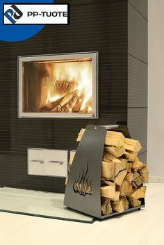 PP-TUOTE from Finland – 'Liekki' Aluminium Firewood Rack with Cut-out Flames Design, Black Firewood Rack, Log Holder, Flame Design, Aluminium, Construction, Flooring, Firewood Holder, Firewood, Weather Vanes
