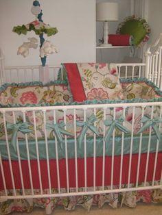 aqua and melon floral crib bedding