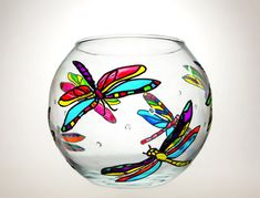 Dragonflies Hand Painted Vase - Glass Sphere Vase - Candle Holder - Mother Day Gift -  Wedding Favors