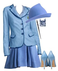 Beauxbatons Uniform by hippogriff-xo on Polyvore featuring Semilla, Swarovski and L.A.M.B.