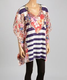 Love this Blue & Pink Stripe & Floral Cape-Sleep Tunic on #zulily! #zulilyfinds