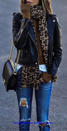 Modetrends Accesories Leopard Schal // Lederjacke // Destroye Source by twaccesoriesxx outfit moda Casual Winter Outfits, Winter Fashion Outfits, Autumn Fashion, Fashion Dresses, Outfit Winter, Dress Casual, Holiday Outfits, Maxi Dresses, Leather Jacket Outfits