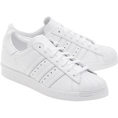 ADIDAS ORIGINALS Superstars 80s Women White // Flat leather sneakers (1.615.020 IDR) ❤ liked on Polyvore featuring shoes, sneakers, 80s shoes, 1980s sneakers, flat shoes, leather sneakers and 1980s shoes