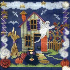 Stitched Area of Boo House Cross Stitch Kit Mill Hill - $10.99