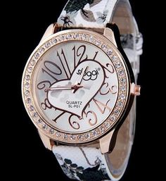 Fashion Casual Leather Strap Heart Design Watch For Women