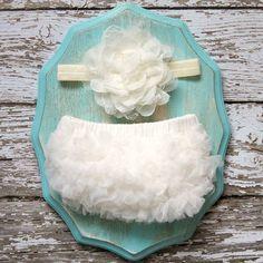Baby Girl TuTu Bloomers Chiffon Ruffle Diaper Cover Ivory Shabby Flower Headband Set Newborn Photography Prop 6 9 18 months CAKE SMASH on Etsy, $15.95