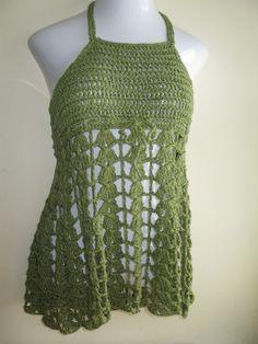 crochet dress mini halter top festival clothing by Elegantcrochets, $72.00