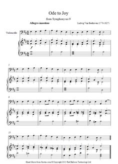 Beethoven -  Theme from Ode to Joy sheet music for Cello