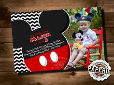 Huge Variety MICKEY MOUSE Birthday Invitation, Mickey Mouse Party Ideas, Mickey Photo Invitation, Pink Frosting Paperie