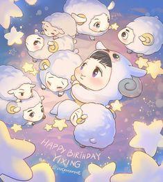 Yixing the little lamb Kpop Exo, Chanyeol, Kyungsoo, Exo Birthdays, Exo Cartoon, Sheep Cartoon, Exo Anime, Yixing Exo, Exo Fan Art