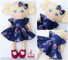 Plushie Plum doll made using Blue Carolina by Christopher Thompson for Riley Blake. Such a pretty fabric! Christopher Thompson, Dress Up Dolls, Riley Blake, Plushies, Fabric Crafts, Fabric Design, Designer Dresses, Plum, Sugar