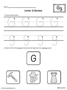 Letter G Review Worksheet Worksheet.Use the Letter G Review worksheet to help your student practice tracing and identifying the beginning sound of the letter G.