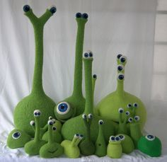 Needle felted monster family