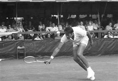 Pancho Gonzales, 41, of Los Angeles, in action in their match on August 31, 1969 in the U.S. Open tennis championships. The aging Gonzales was down two sets to one when he rallied to win in a dramatic victory, 3-6, 6-4, 4-6, 8-6, 6-2. (AP Photo/Harry Harris)