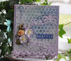 """Bente Fagerberg as Paper and Glue Heaven using Papirdesign papers, Sizzix dies and Martha Steward punches, """"Grattis"""", Feb. Elizabeth Craft Designs, Embellishments, Mixed Media, Decorative Boxes, Card Making, Feminine, Sizzix Dies, Paper, Frame"""